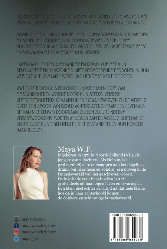 Bloedhonger - Achterkant / Maya WF / Boeken van Bloed
